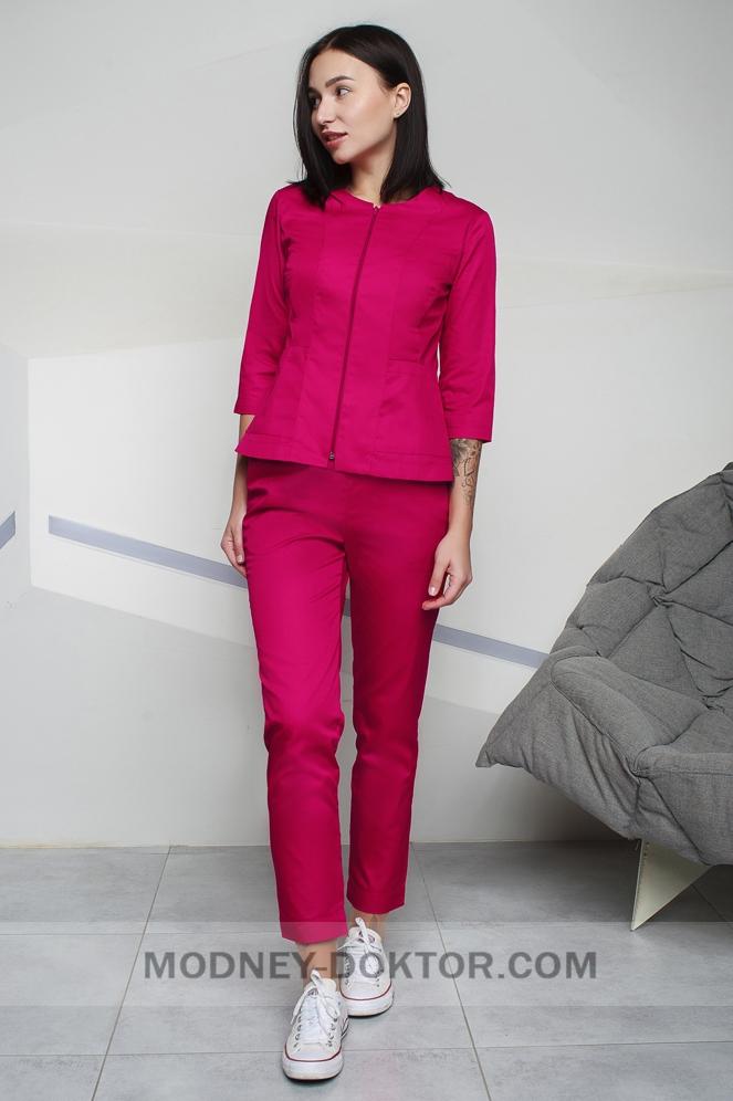 Женский медицинский костюм (красный/тонкая ткань)