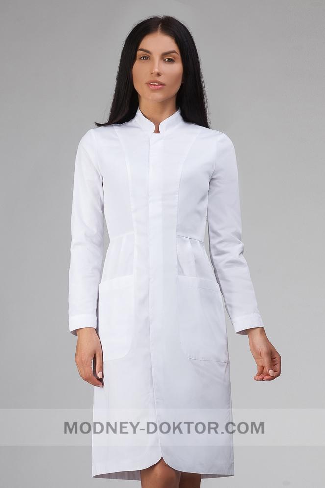 Женский медицинский костюм (белый/ белые кнопки)