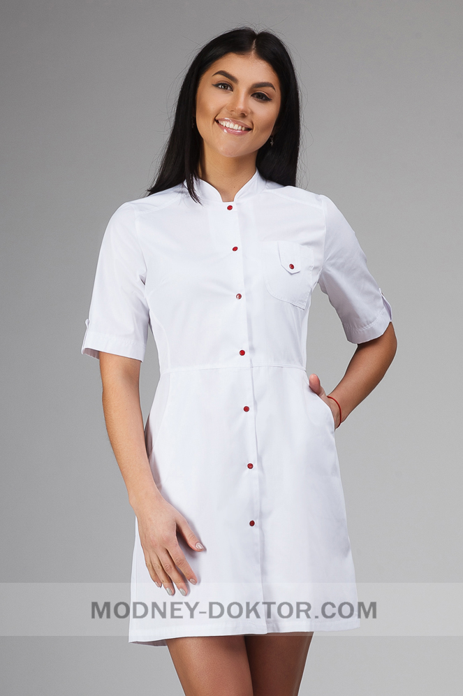 Женский медицинский халат (белый/красная кнопка)