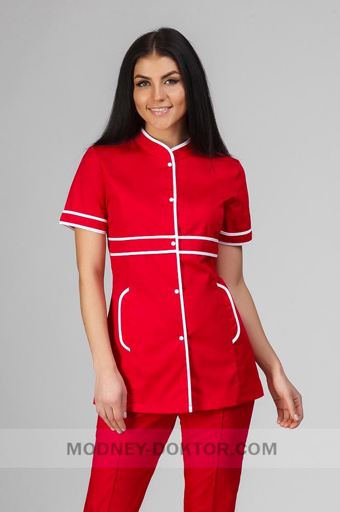 Женский медицинский костюм (красный/белая окантовка)